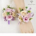 Bracelet de Fleurs Artificielles pour Mariage avec Boutonnière en Fleurs Artificielles | Fleurs Artificielle Mariage | Bouqueternel