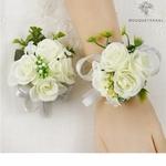 Bracelet de Fleurs Artificielles pour Mariage avec Boutonnière Mariée | Fleurs Artificielle Mariage | Bouqueternel
