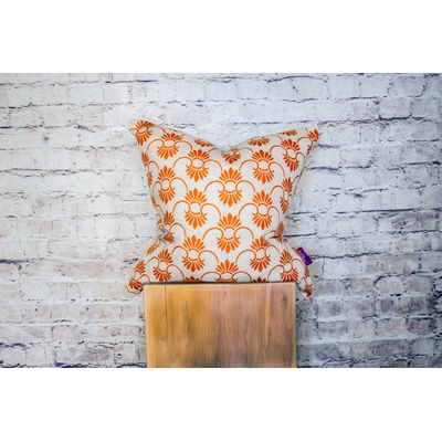"Coussin décoratif 45*45 ""Peacock orange"""