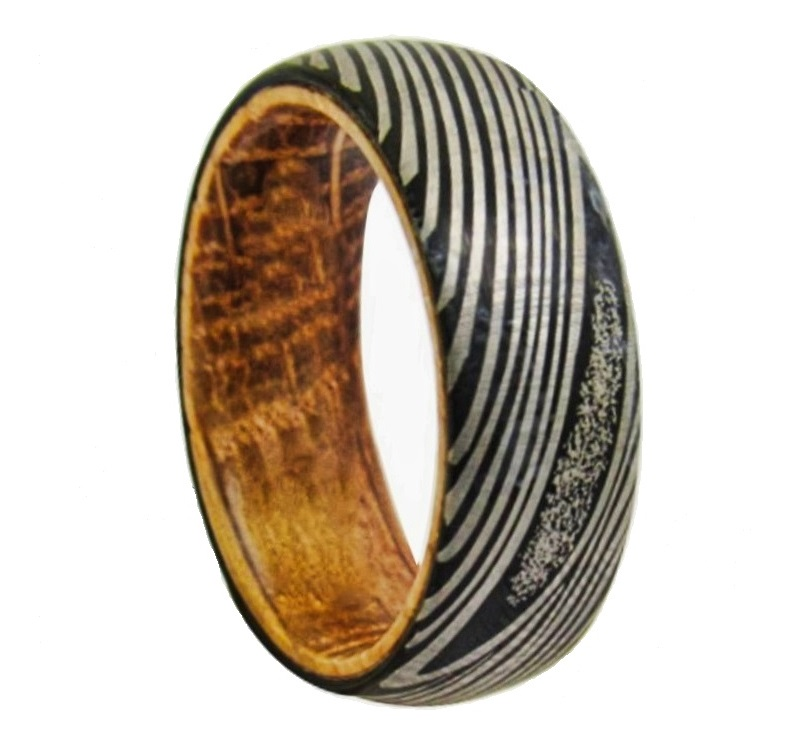 Bague bois et acier damas homme femme 6 ou 8 mm