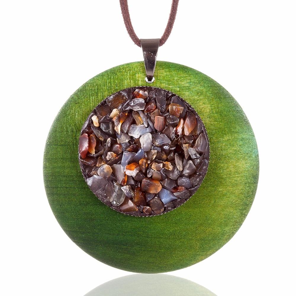 Sautoir bois - Eclats de pierres