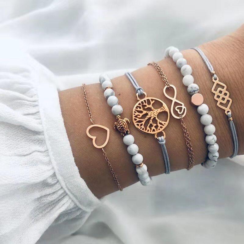 Ensemble de bracelets Arbre de vie - Bleu