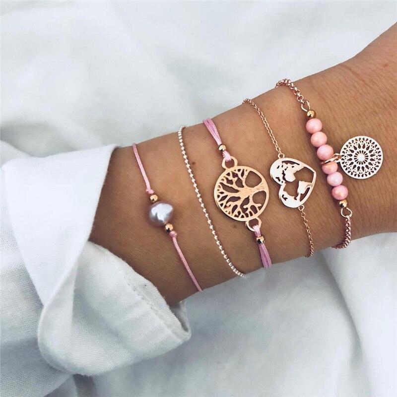 Ensemble de bracelets Arbre de vie - Rose