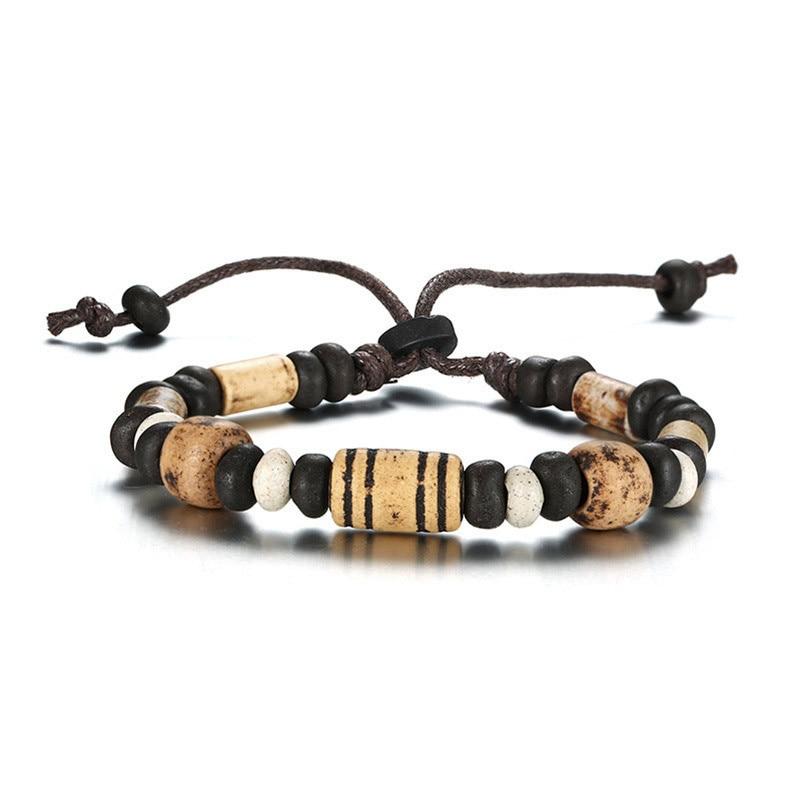 ZORCVENS-r-tro-bois-perles-bracelet-breloques-pour-hommes-femme-Nylon-corde-ethnique-Tribal-Bracelets-taille