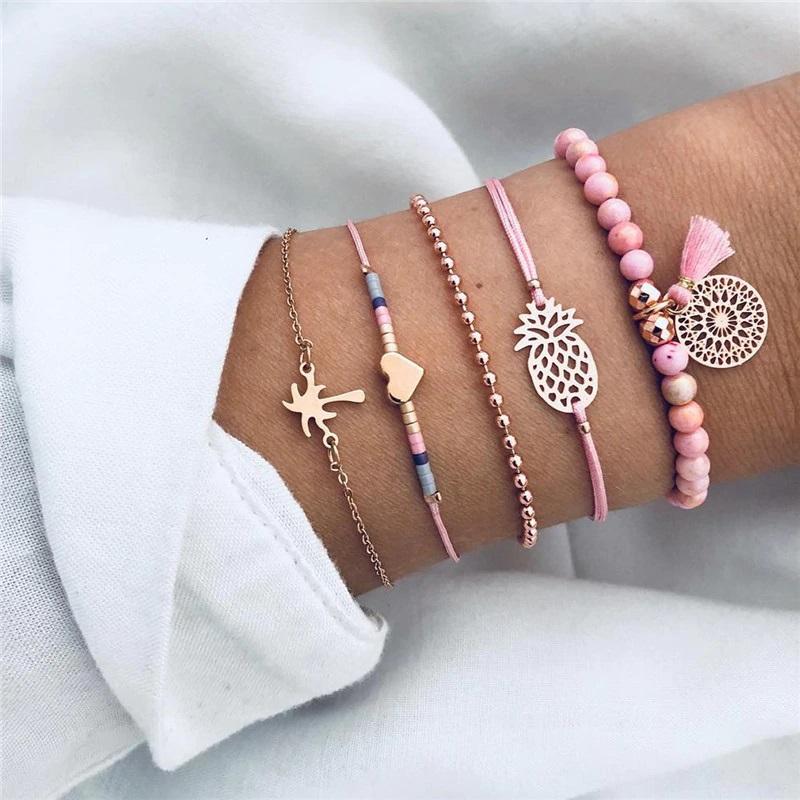 Ensemble de bracelets - Tons roses