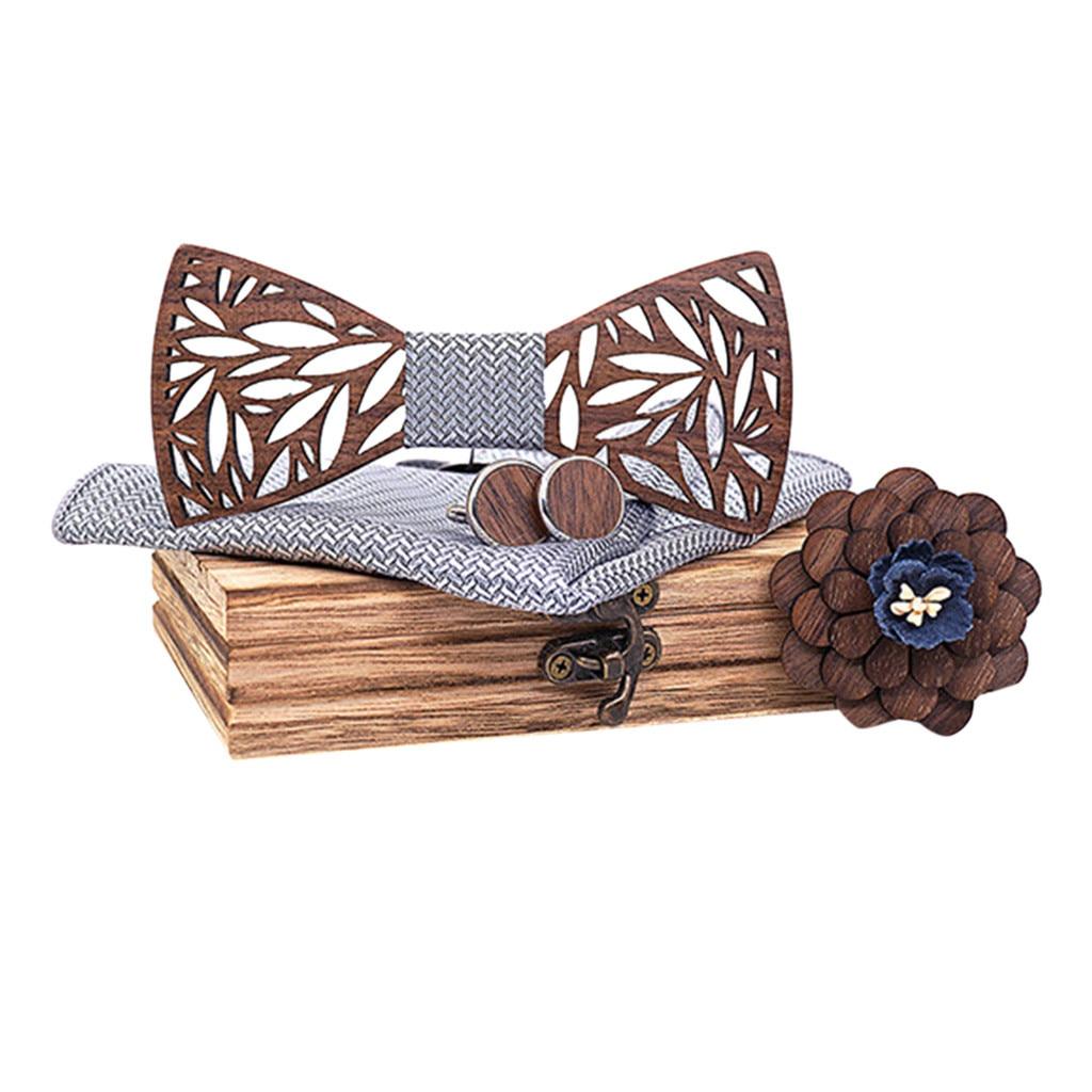 Noeud papillon bois, boutons de manchette bois, boutonnière fleur bois, pour mariage découpe feuillage