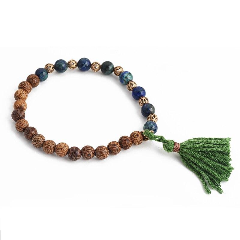Bracelet perles bois - Lapis