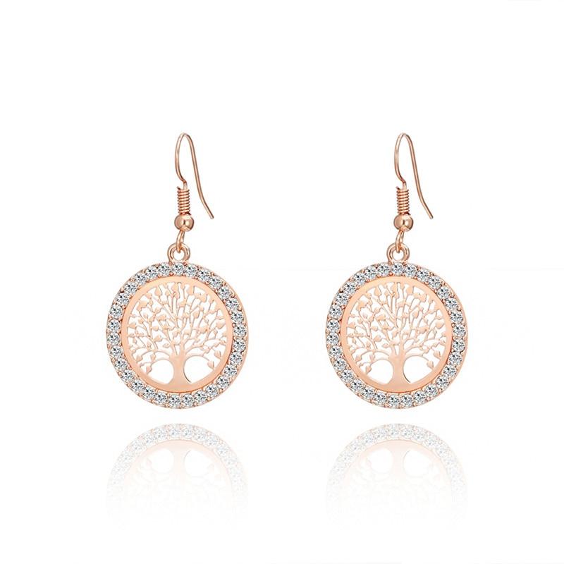 Boucles d'oreilles arbre de vie élégantes or rose