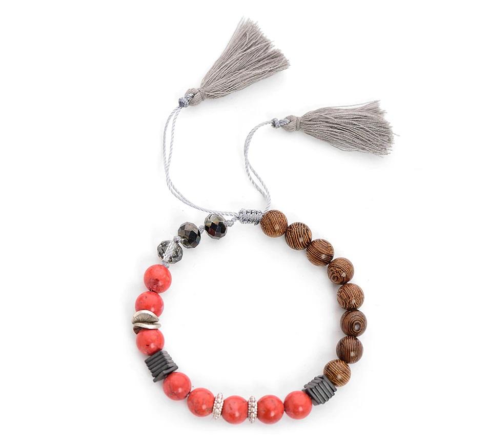 Bracelet perles bois - Corail