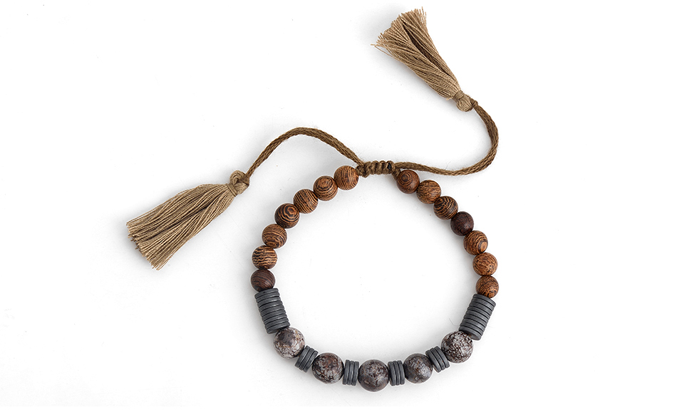 Bracelet perles bois - Hématite