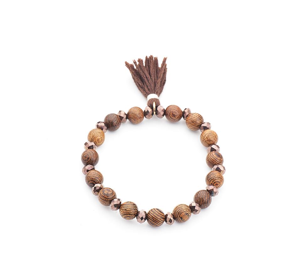 Bracelets perles bois - Lumineux