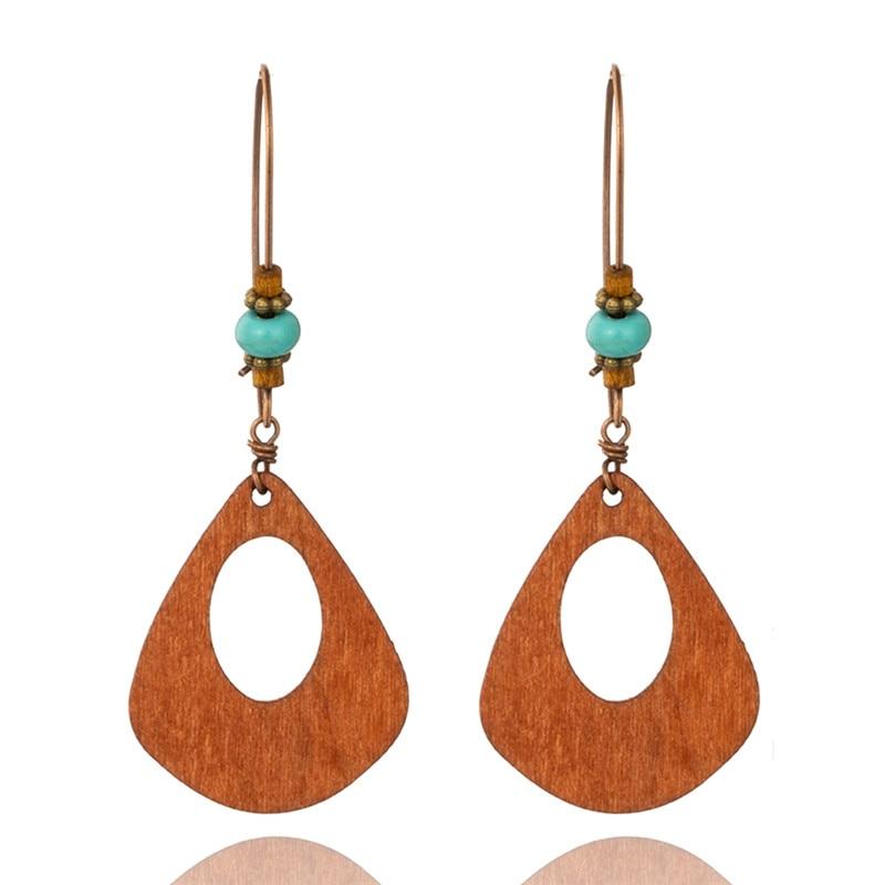 boucles d'oreilles pendantes bois ethniques bohème