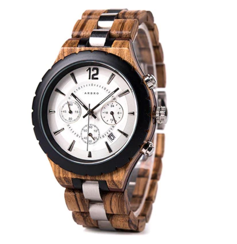 Montre bois chronographe homme - Solaris White