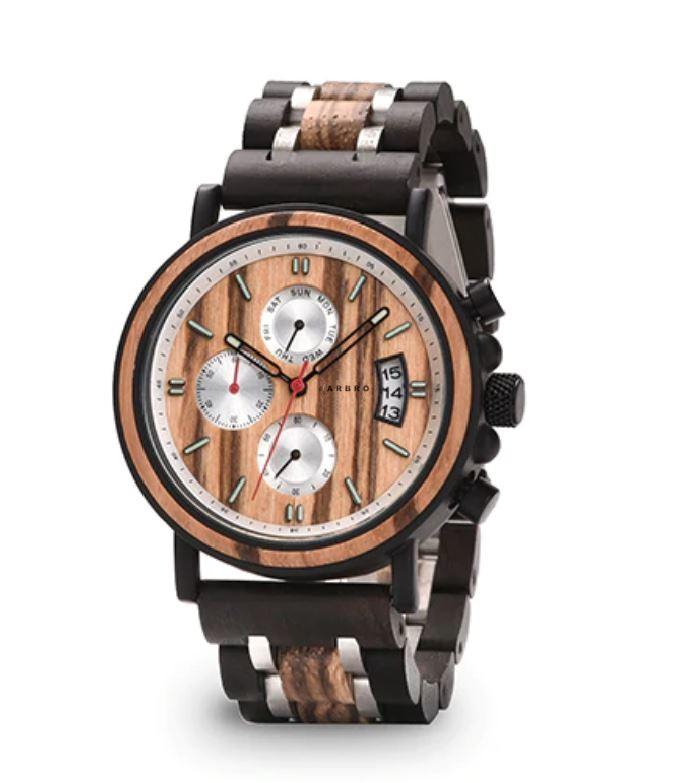 Montre bois homme chronographe - Indémo naturel