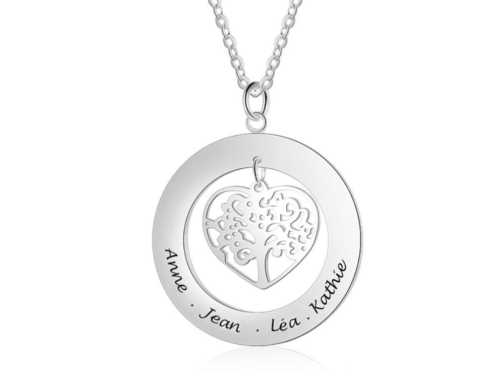 Collier Arbre de vie pendentif Cœur Argent - Prénoms personnalisés