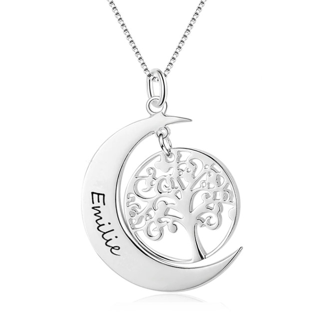 Collier Arbre de vie pendentif Lune Argent - Prénom à personnaliser