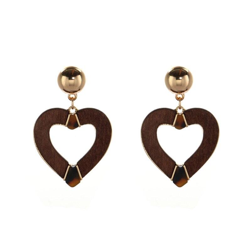 boucles d'oreilles pendantes bois coeur