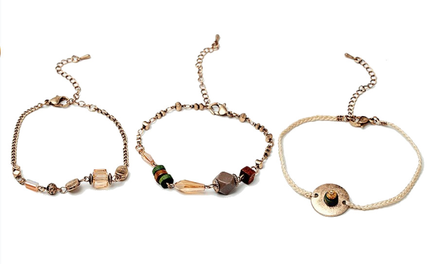 Bracelets bois et zinc - Vintage