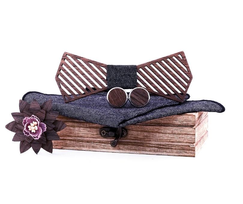 Nœud papillon bois - Stripe