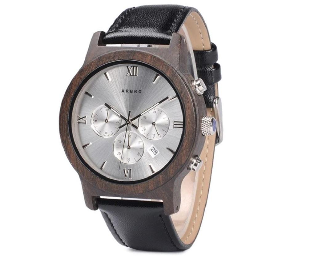 Montre bois homme chronographe - Silver