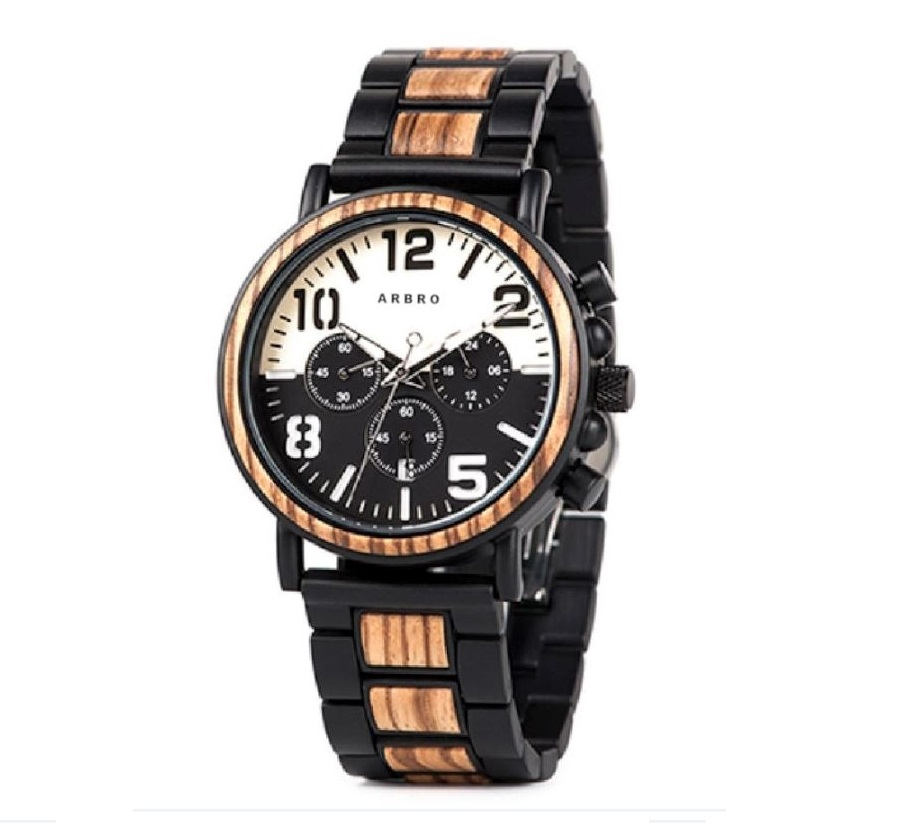 Montre bois chronographe homme - Aviateur