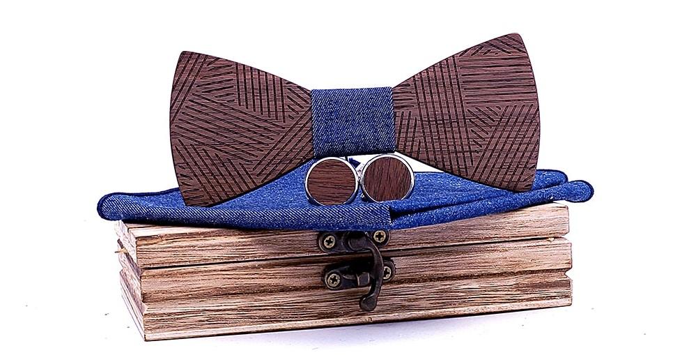 noeud papillon en bois rayures bleu jean