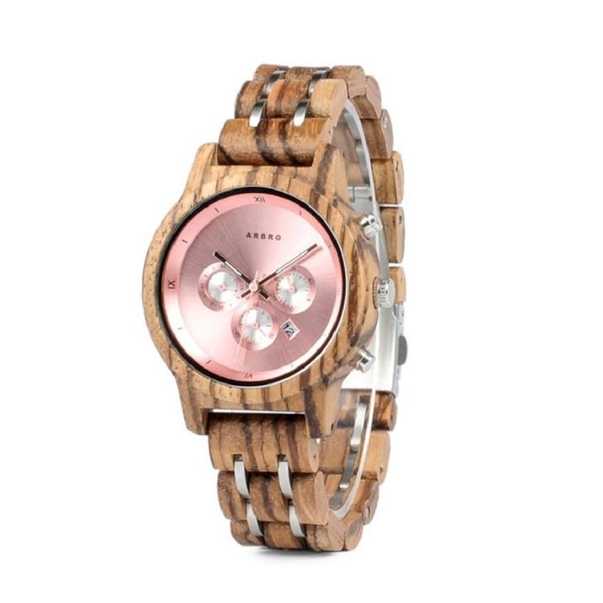 Montre bois femme chronographe - Shiny Rose