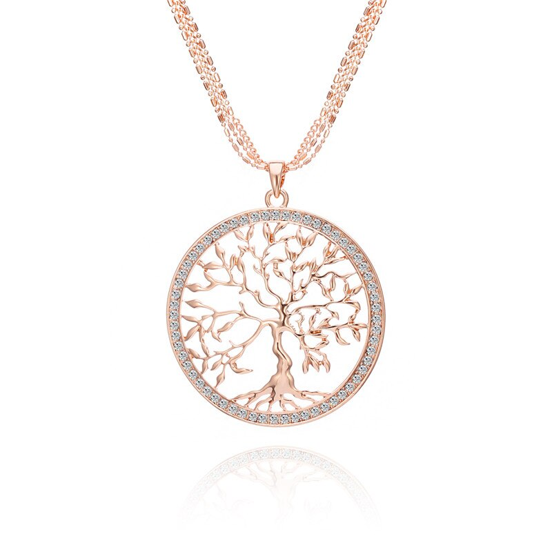 Grand-Rond-arbre-de-vie-pendentif-En-Cristal-Collier-Femmes-Or-Argent-Couleurs-Long-Pull-Cha