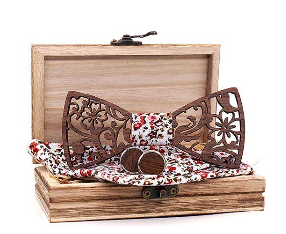 Noeud papillon bois - Découpe hibiscus