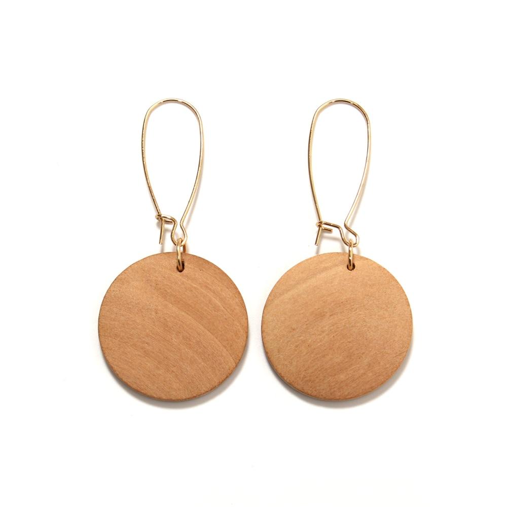 Boucles d'oreilles pendantes rond en bois