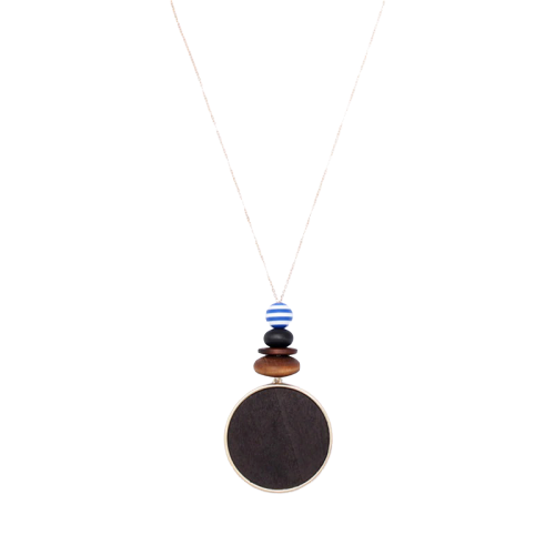 Collier pendentif grand rond bois