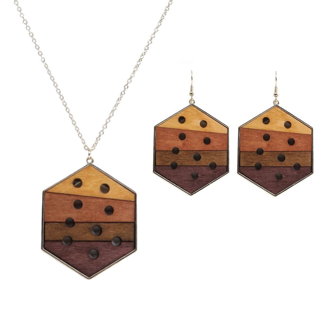 Parure bijoux bois - Hexagone