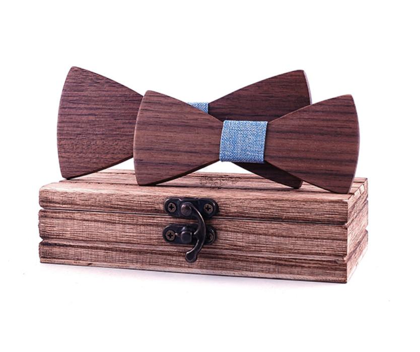 Noeuds papillon bois - Père/fils brun