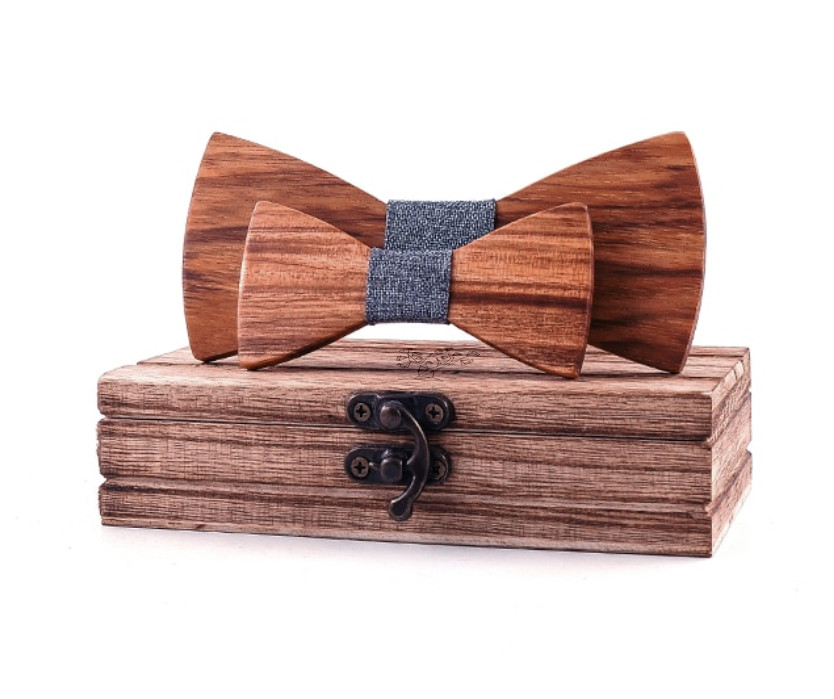 Noeuds papillon bois - Père/fils caramel