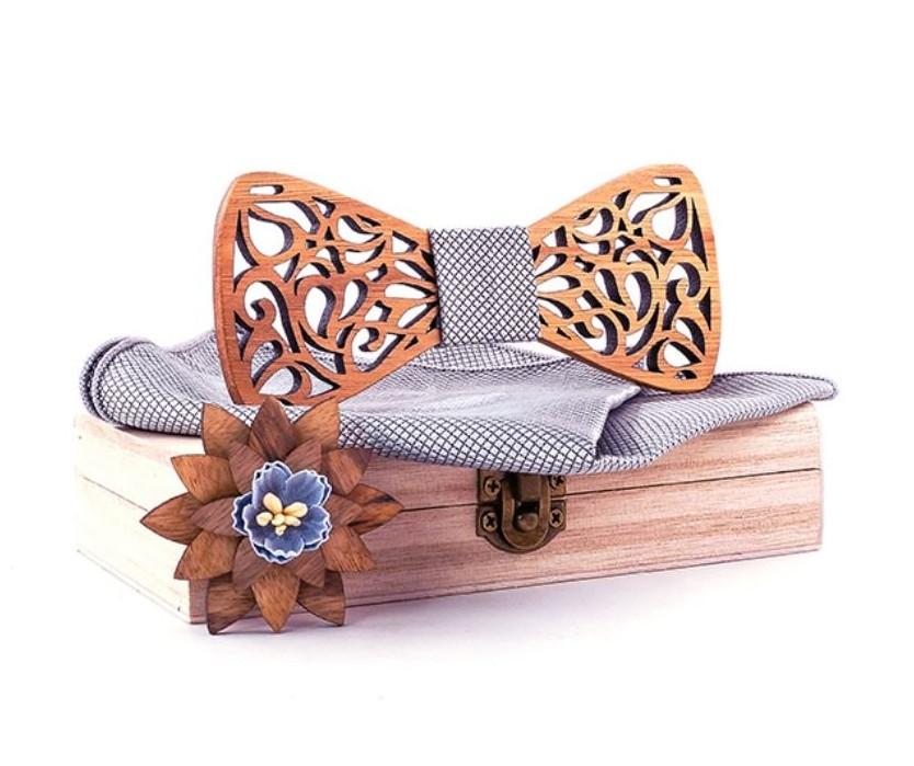 Noeud papillon bois - Découpe fleur