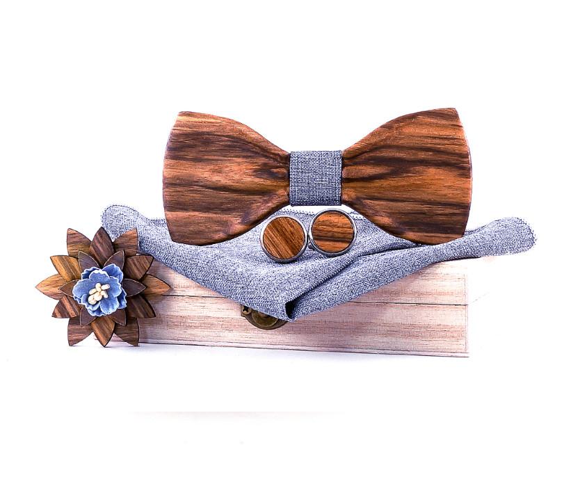 coffret noeud papillon bois brut bleu jean