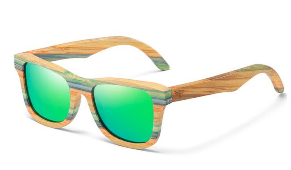 Lunettes de soleil en bois freestyle verres vert arbrobijoux