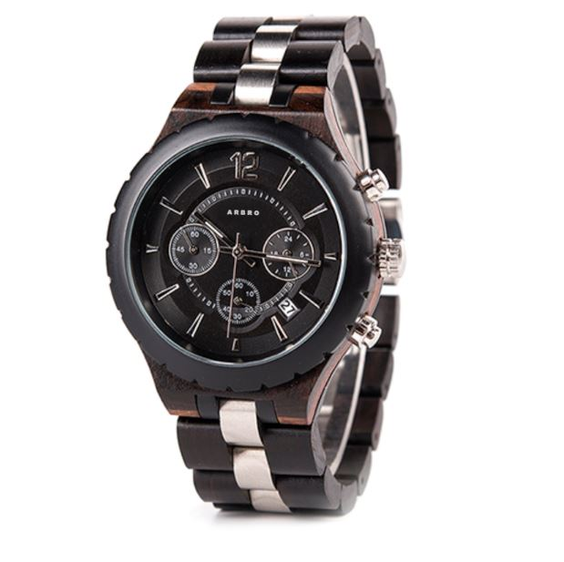 montre bois chronographe - Black&White 2