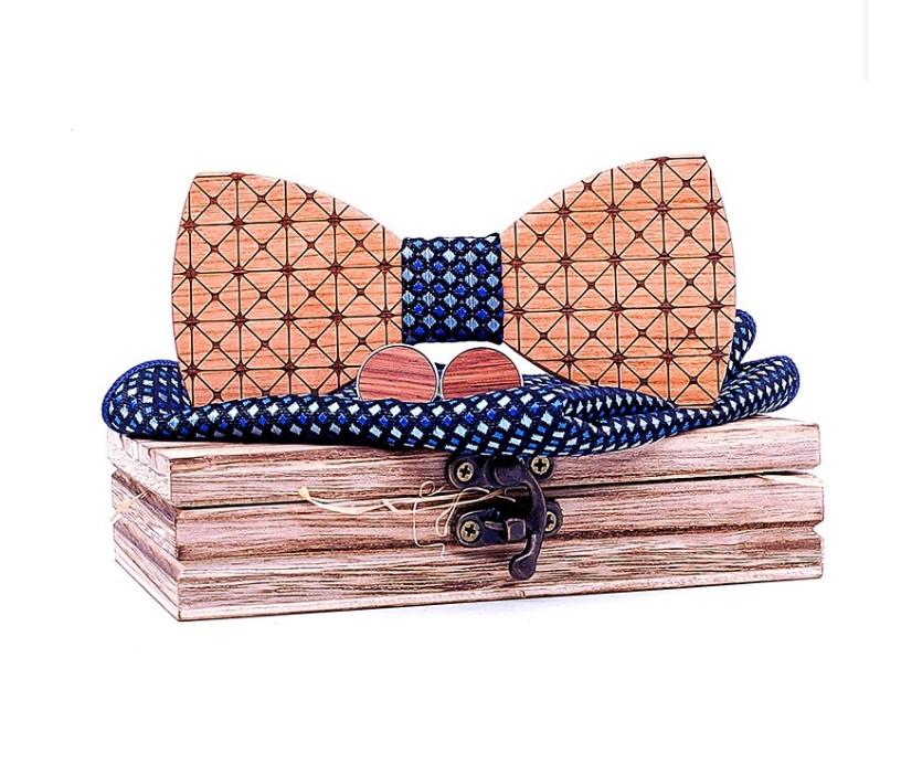 noeud papillon bois motif géométrique