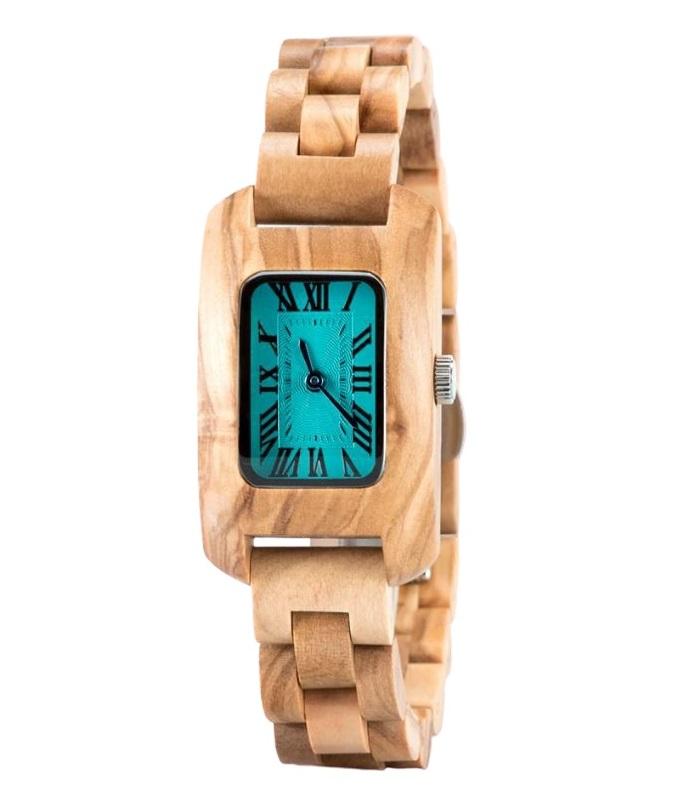 montre en bois femme sensualité cadran turquoise