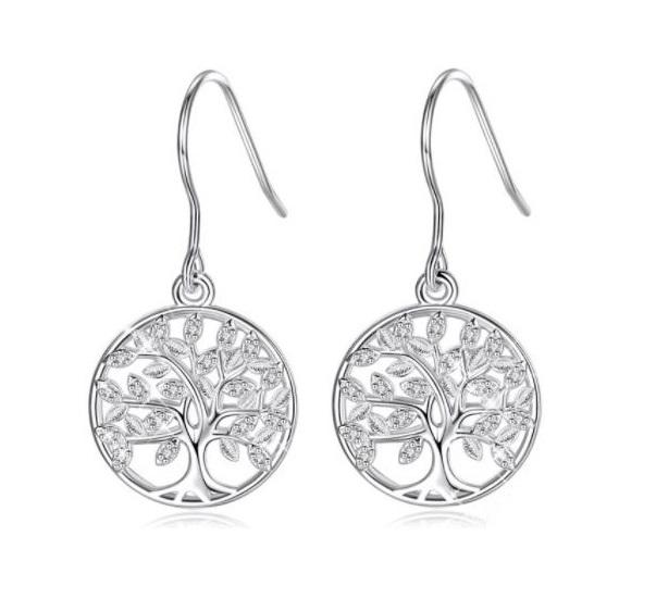 Boucles d'oreilles pendantes arbre de vie argent zircon