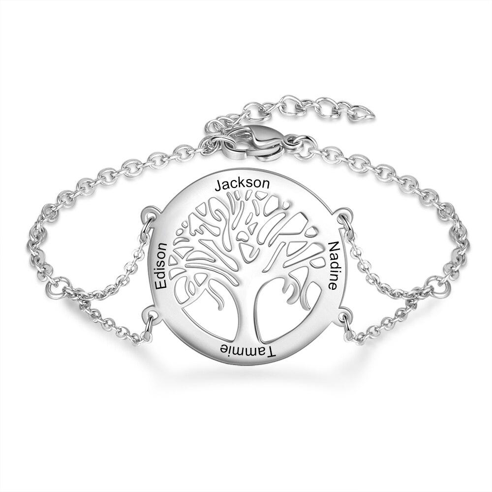 Bracelet Arbre de vie Acier - Prénoms personnalisés