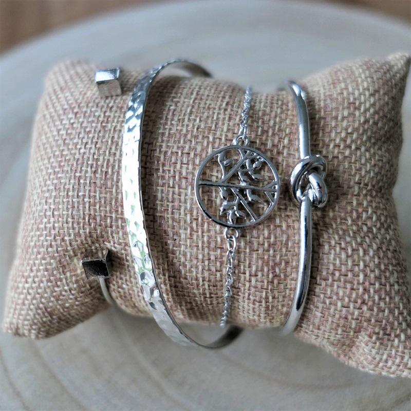 Lot de bracelets jonc argent pour femme
