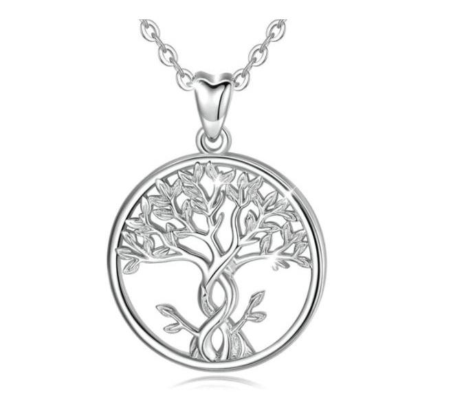 Collier argent zircon arbre de vie