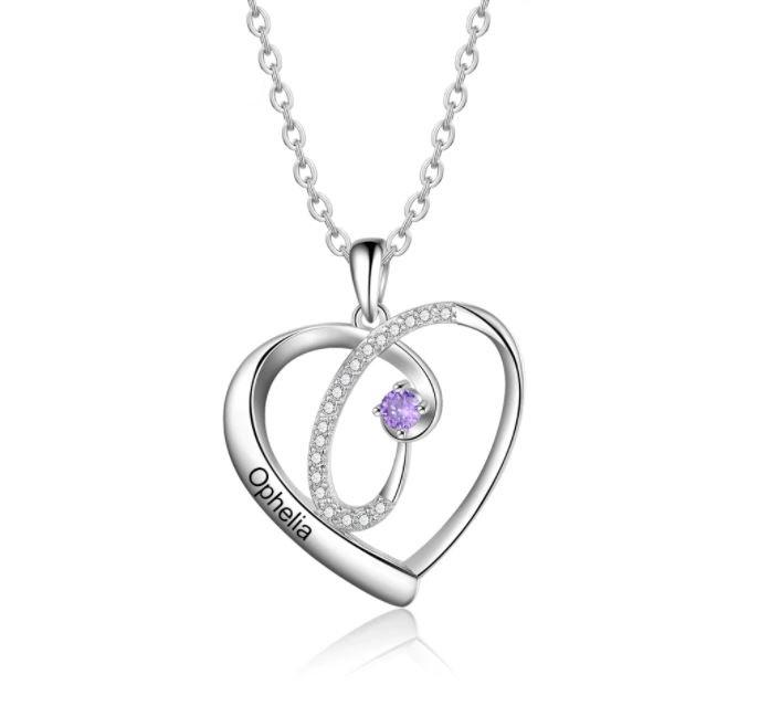 Collier coeur pierre de naissance - Prénom