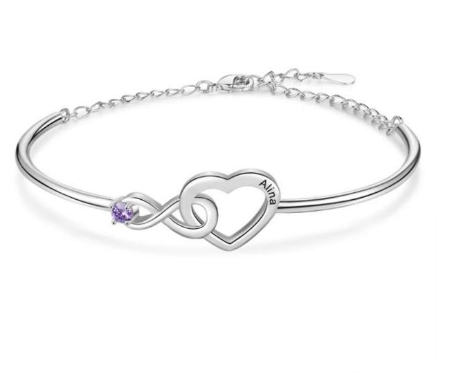 Bracelet pierre de naissance prénom - Coeur Infini