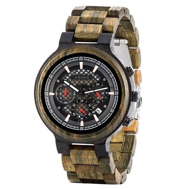 Montre chronographe homme en bois de santal vert style masculin moderne