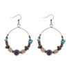 boucles d'oreilles créoles perles bois bleues