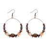 boucles d'oreilles créoles perles bois et coquillages