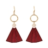 boucles d'oreilles pendantes en bois style éventail rouge